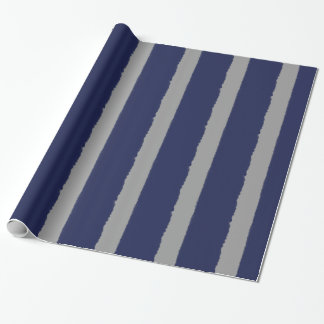 Watercolors Navy and Grey Stripes Wrapping Paper