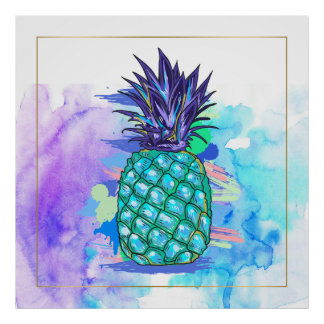 Watercolors Pine-Apple Illustration Poster