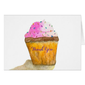 Watercolors Pink Cupcake and Sprinkles, Thank You Card