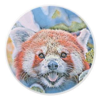 Watercolors - Red Panda Ceramic Knob