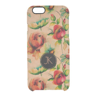 Watercolors Red Roses On Blond Wood Background Clear iPhone 6/6S Case