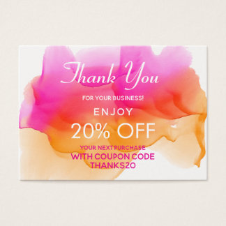 Watercolors Sorbet Thank You Discount Business Card