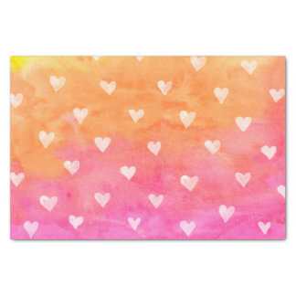 Watercolors White Hearts On Purple & Yellow Tissue Paper