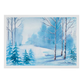 Watercolors Winter Scene Nature Landscape Poster