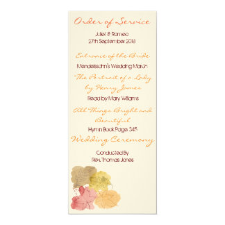 Watercolour Autumn Leaves Order of Service 10 Cm X 24 Cm Invitation Card