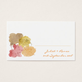 Watercolour Autumn Leaves Place Cards