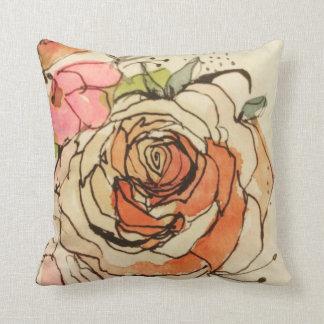 Watercolour bloom 1 & 3 throw pillow