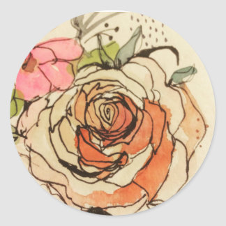 Watercolour bloom 3 classic round sticker