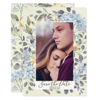 watercolour blue floral hydrangea save the date card