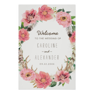 Watercolour Boho Feathers Welcome Sign (24x36)