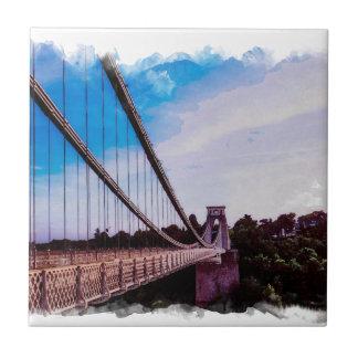Watercolour Bridge Ceramic Tile
