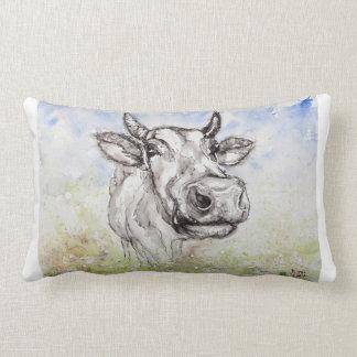 Watercolour British Wildlife Cow, Lumbar Pillow. Lumbar Cushion