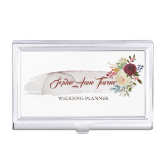 Watercolour Brush Stroke Floral Makeup Artist Business Card Holder