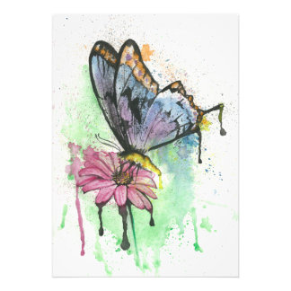 Watercolour butterfly on flower, photo print