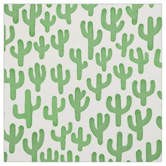 Watercolour Cactus Pattern - Green Fabric