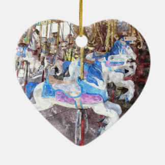 Watercolour Carousel Ceramic Heart Decoration