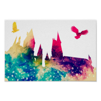 Watercolour Castle & Owl Poster Print