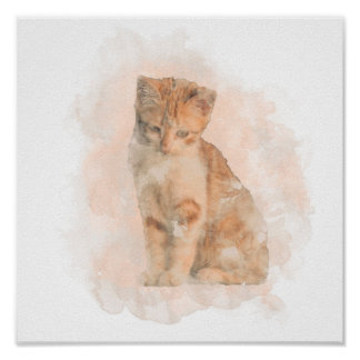Watercolour cat poster