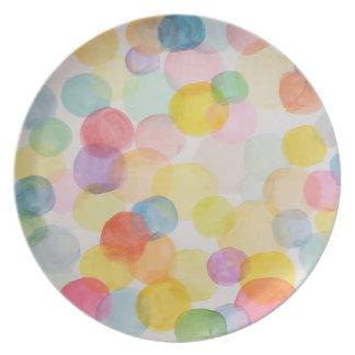 Watercolour Circles Melamine Plate