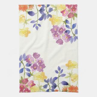 Watercolour Colourful Wild Flowers Tea Towel
