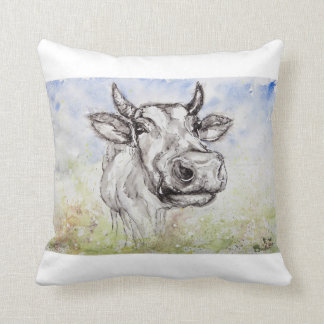 Watercolour Colourfully Cow, Scatter throw Pillow
