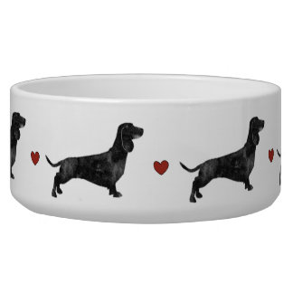 Watercolour dachshund heart pet bowl