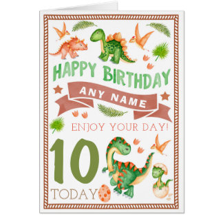Watercolour Dinosaur Personalised Birthday Card