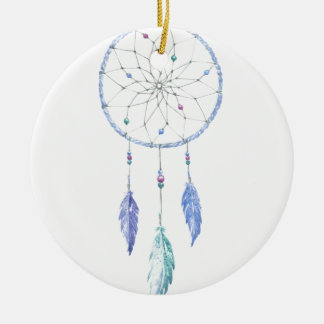 Watercolour Dreamcatcher with 3 Feathers Ceramic Ornament