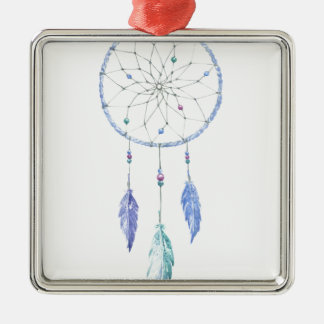 Watercolour Dreamcatcher with 3 Feathers Metal Ornament