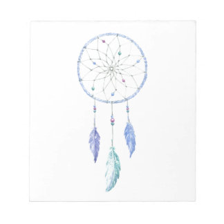 Watercolour Dreamcatcher with 3 Feathers Notepad