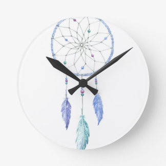 Watercolour Dreamcatcher with 3 Feathers Round Clock