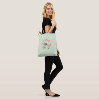 Watercolour Floral Mint Monogram Tote Bag