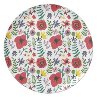 Watercolour Floral Pattern Dinner Plates