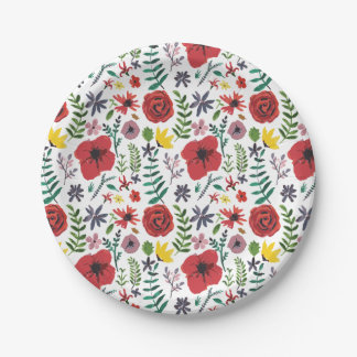 Watercolour Floral Pattern Paper Plate