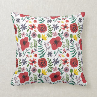 Watercolour Floral Pattern Throw Pillow