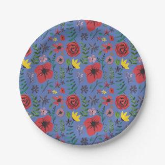 Watercolour Florals 7 Inch Paper Plate