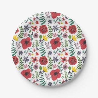 Watercolour Florals Design 7 Inch Paper Plate