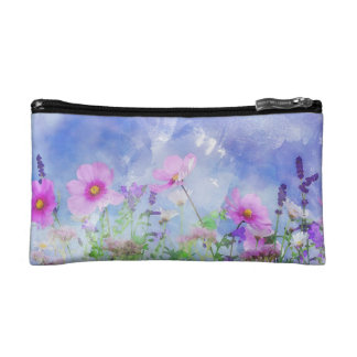 Watercolour flowers makeup bag