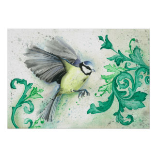 Watercolour flying bird and acanthus leaves poster