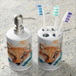 Watercolour Fox Soap and Toothbrush Holder Set