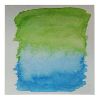 Watercolour Horizons Blue Green Poster Print