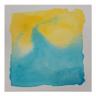 Watercolour Horizons Blue Yellow Poster Print