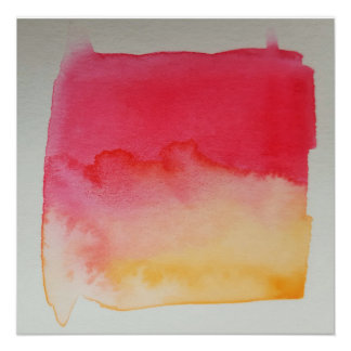 Watercolour Horizons Yellow Red Poster Print