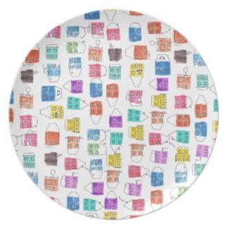 watercolour houses party plates