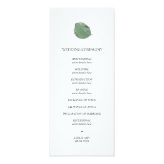 Watercolour leaf wedding program