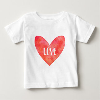 Watercolour Love Heart Typography Baby T-Shirt