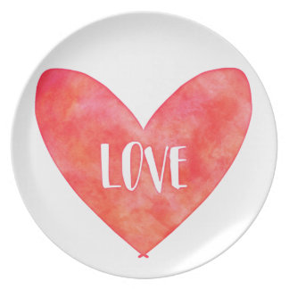 Watercolour Love Heart Typography Dinner Plates
