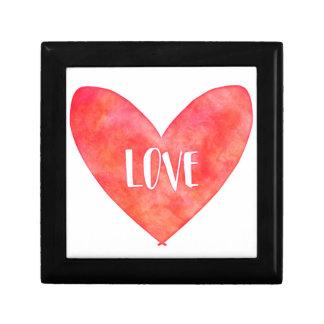 Watercolour Love Heart Typography Gift Box