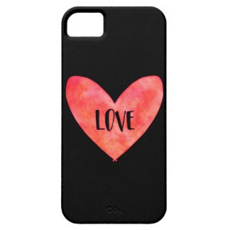Watercolour Love Heart Typography iPhone 5 Cover