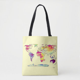 Watercolour map of world tote bag